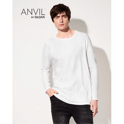 Anvil Adult Lightweight Long and Lean Long Sleeve Tee White